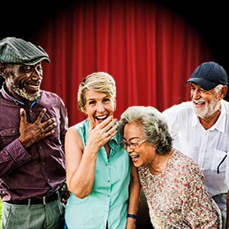 image of senior theatre actors acting in a play